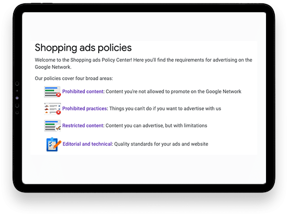 Shopping ads policies