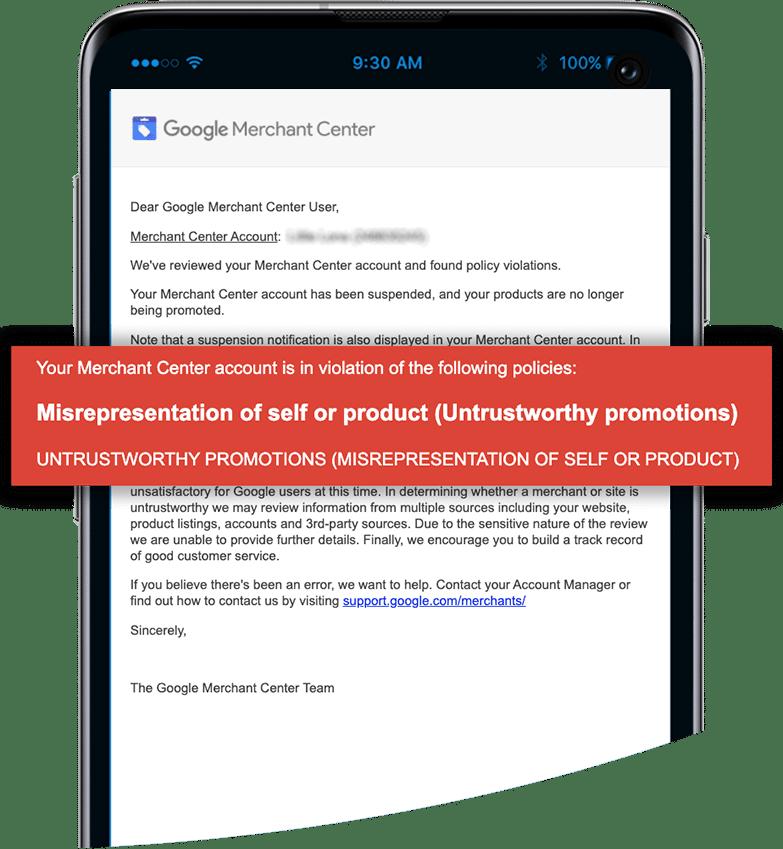 Merchant Center Suspension Message