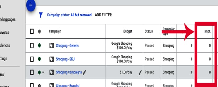 This image shows google shopping campaigns with 0 impressions