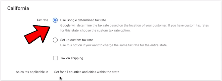 This image shows how to set up the tax settings in Google Merchant Center.